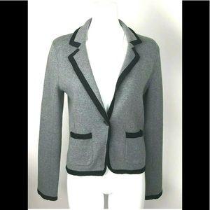 LOFT Knit Gray Blazer Sweater Black Trim Jacket